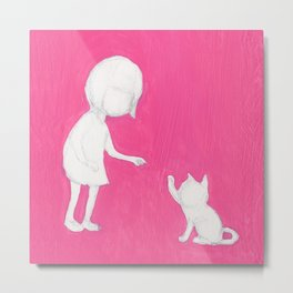 pink girl high five cat touch Metal Print