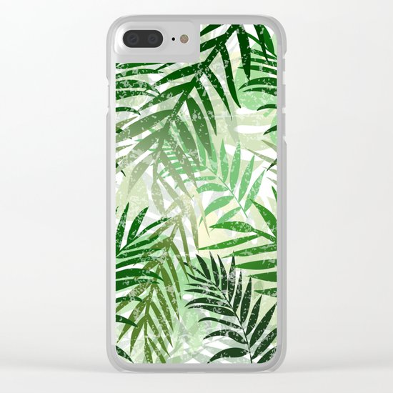 Tropical Green leaves Clear iPhone Case
