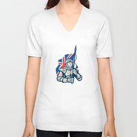 british flag V-neck T-shirts featuring Knight British Flag Retro by patrimonio