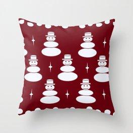 Snowmen pattern -red Throw Pillow
