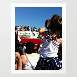 Wave to the Fireman! Art Print