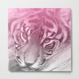 Tiger - Pink Metal Print