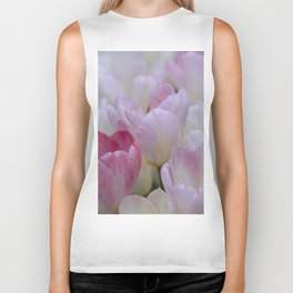 White and Pink Tulips for a Happy Wedding Biker Tank