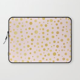 Luxe Rose Gold Polka Dots Pattern Seamless Vector, Drawn Metallic Laptop Sleeve