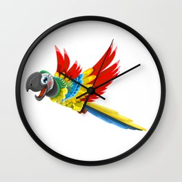 Colourful Chestnut-fronted Macaw - Parrot Cartoon Wall Clock