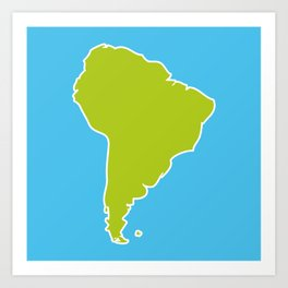 South America map blue ocean and green continent. Vector illustration Art Print