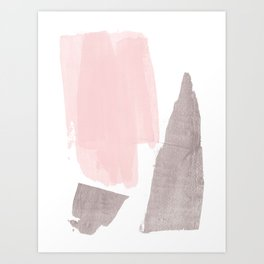 Pink and Grey Minimalist Abstract Brushstroke Painting Art Print