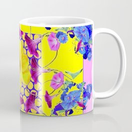 DECORATIVE PINK-YELLOW BLUE FLORALS Coffee Mug