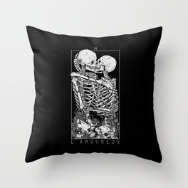 The Lovers Skull Kiss Throw Pillow