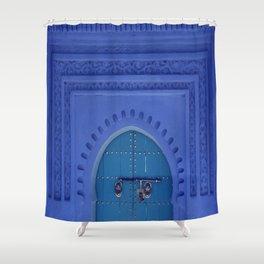 Islamic Architecture Blue Turquoise Secret Doorway Beautiful Engravings Shower Curtain