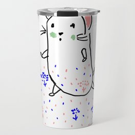 A hamster in a meadow Travel Mug