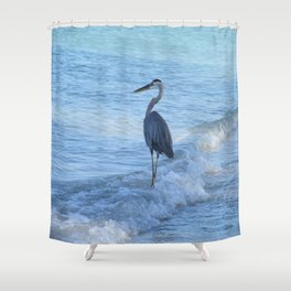 Oceans Great Blue Heron Shower Curtain