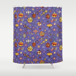 '70s peaceful retro Christmas pattern Shower Curtain