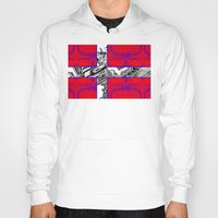 denmark Hoodies featuring circuit board Flag (Denmark) by seb mcnulty