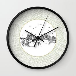 New York, New York City Skyline Illustration Drawing Wall Clock