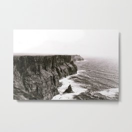 Cliffs of Mohr Ireland Black And White Metal Print