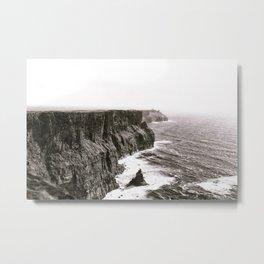 Cliffs of Mohr Ireland Black And White Metal Print