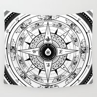 compass Wall Tapestries featuring Compass Rose by 83 Drops