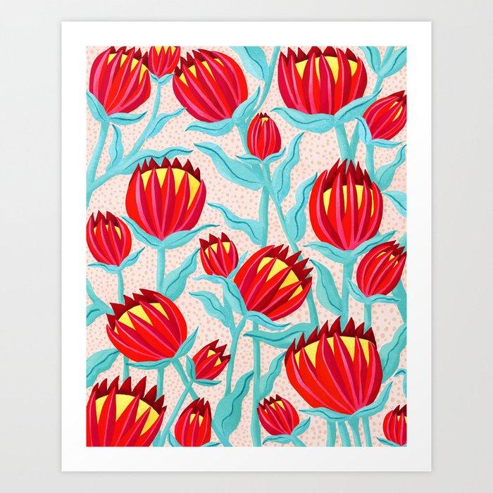Bold Protea Flower Pattern - Red Yellow Green Art Print