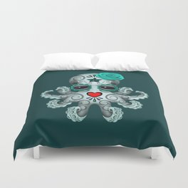 Teal Blue Day of the Dead Sugar Skull Baby Octopus Duvet Cover