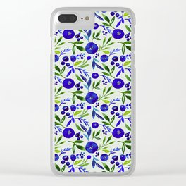 Watercolor in Blue-Purple Hues Floral Pattern Clear iPhone Case
