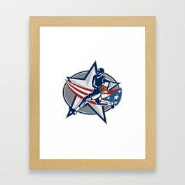 Basketball Player Fast Break Lay-Up Woodcut Framed Art Print