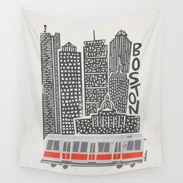 Boston City Illustration Wall Tapestry