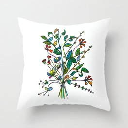Bouquet of Sprigs Throw Pillow