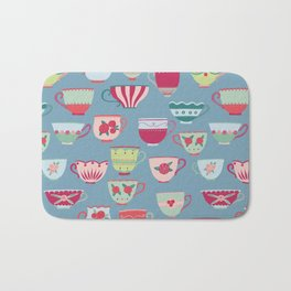 China Teacups on Teal Bath Mat