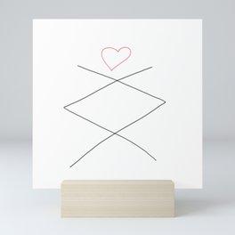Inguz Rune with Heart Mini Art Print
