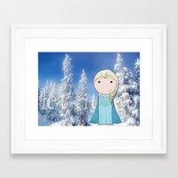 frozen elsa Framed Art Prints featuring Elsa: Frozen  by Jen Talley