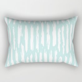 Vertical Dash Stripes White on Succulent Blue Rectangular Pillow