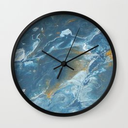 Ocean Flow, pouring abstract acrylic Wall Clock
