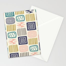 Retro Mid Century Modern Check Pattern 232 Stationery Cards