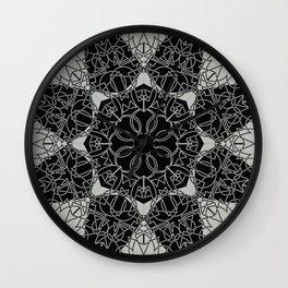 Gothic Link Flower Mandala Black and Grey Wall Clock