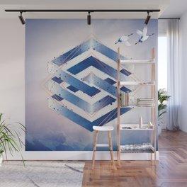 Indigo Hexagon :: Floating Geometry Wall Mural