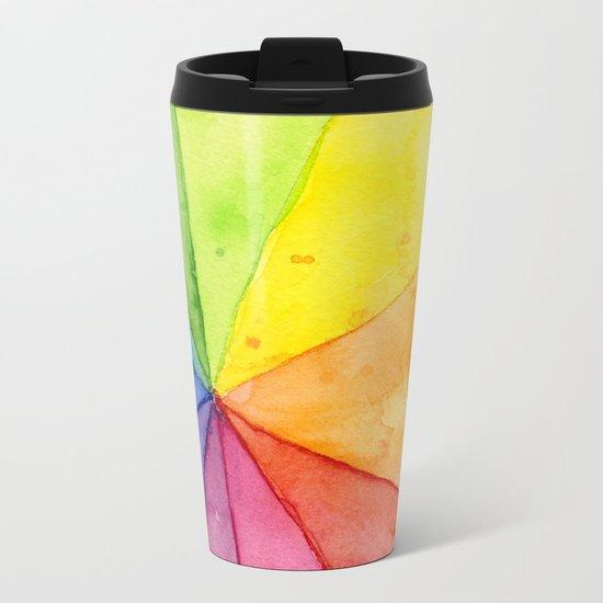 Rainbow Watercolor Geometric Pattern Metal Travel Mug