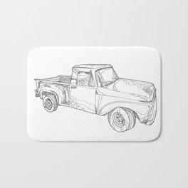 Vintage Pickup Truck Doodle Art Bath Mat