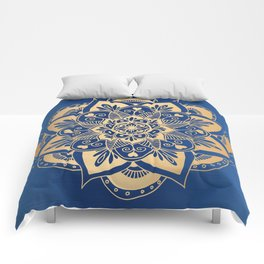 Blue and Gold Flower Mandala Comforters