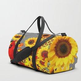MODERN ABSTRACT RED CARDINAL YELLOW SUNFLOWERS GREY ART Duffle Bag