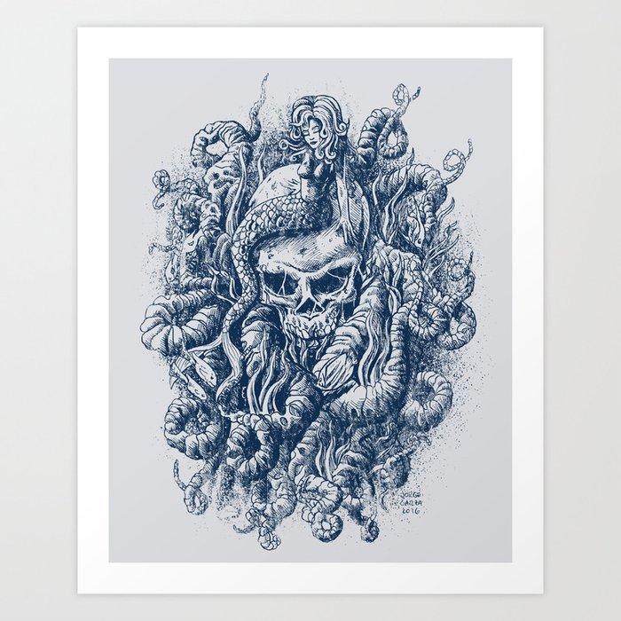 Mermaid Skull 2 Art Print