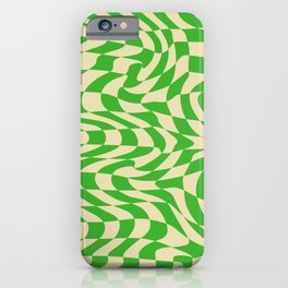 Psychedelic Warped Wavy Checkerboard in Green and Cream iPhone Case