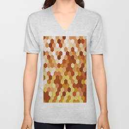 Honeycomb Pattern In Warm Mead and Honey Colors Unisex V-Neck