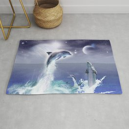 Dolphins and Planets Rug
