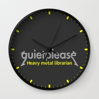heavy metal Wall Clocks featuring Heavy Metal Librarian by mailboxdisco