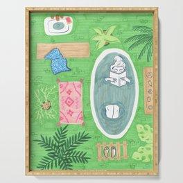 Green Tiled Bath drawing by Amanda Laurel Atkins Serving Tray