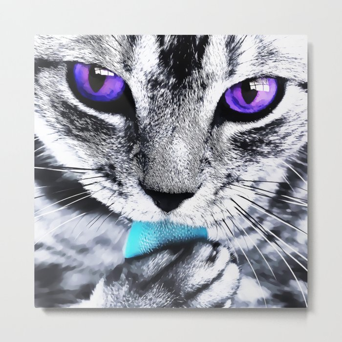 Purple eyes Cat Metal Print