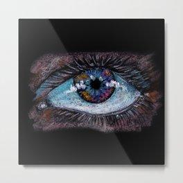 I'm watching you. Big green eye. Oil pastel on black background Metal Print