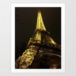 Eiffel Tower, Paris, City of Lights, Paris Photo, Nighttime in Paris, Eiffel Tower at Night Art Print