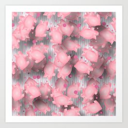 Pink Piggies Art Print